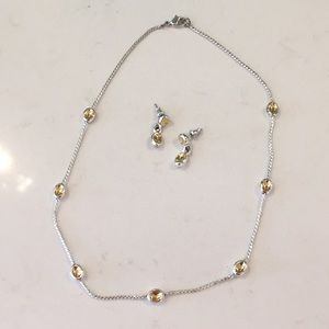 Two-tone set (earrings+necklace)